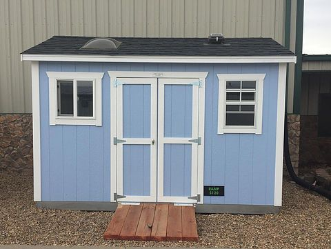 Teds Sheds - Ranch Shed Pro Series display model - blue with white trim