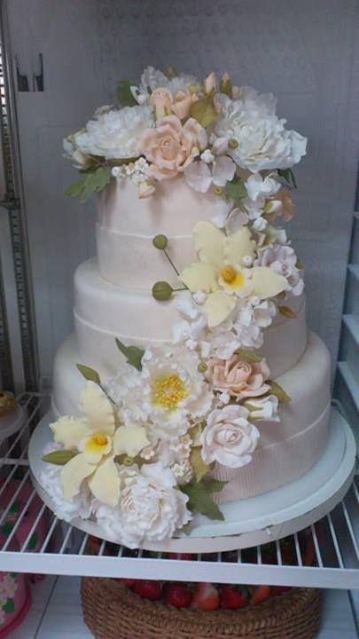 Wedding cake, gum paste flowers, rose, peony, orchid, open peony, sweet pea..