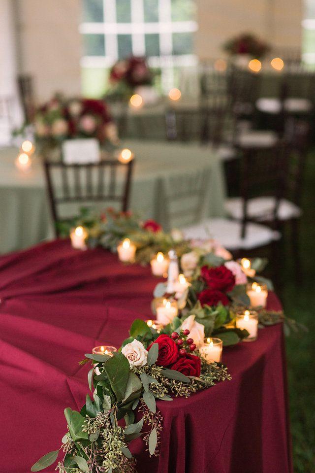 Head table decor | merlot | candles | greenery | sage | wedding | reception