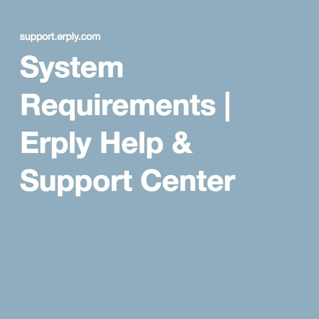 System Requirements | Erply Help & Support Center