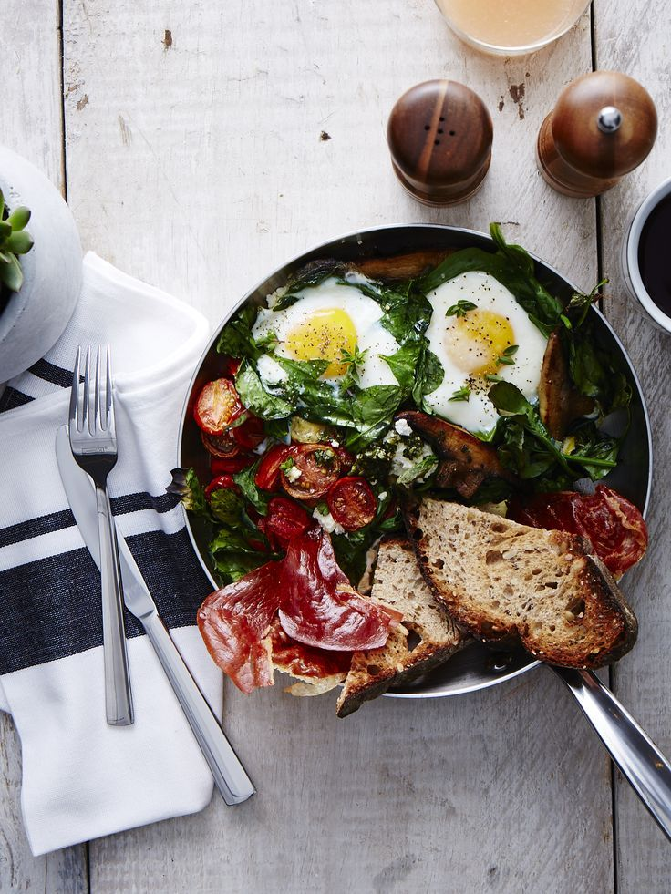Baked Eggs with Chimichurri and Prosciutto- sophisticated eating