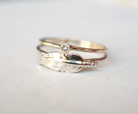 Moissanite Ring Feather Ring Ring Set Sterling Silver by Luxuring