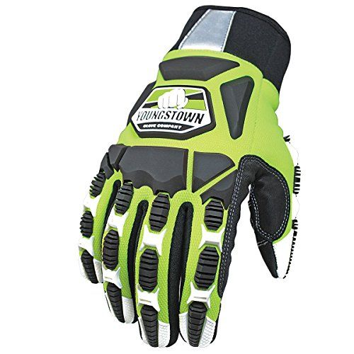 Youngstown Glove 09-9060-10-M Titan XT Glove, Medium:   Youngstown's Titan XT offers total hand protection, high visibility and durability. The TPR on the top of hand forms perfectly over your fingers to provide smash protection without limiting dexterity. This glove also features reflective 3M Scotchlite and safety lime coloring to increase visibility in low light situations. The palm features Youngstown's signature non-slip reinforcement for increased grip and durability along with v...