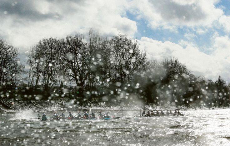 Roeien: De winnaars van de Boat Race: Cambridge (mannen) en Oxford (vrouwen). Bijna was één boot gezonken.