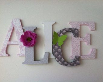 Nursery wooden wall letters in pink and gray by SummerOlivias