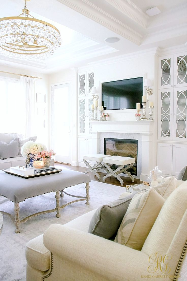 Tips for Design Worthy Family Photos - Randi Garrett Design. A white family room with gray and blue details. Gorgeous crystal drop chandelier