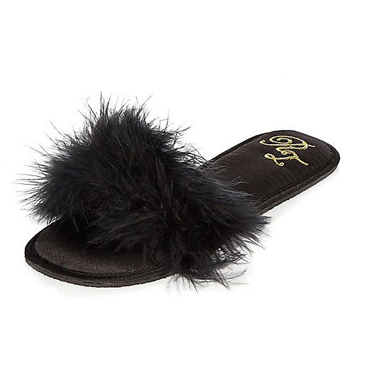 Black faux fur slipper mule - slippers - Lingerie & Sleepwear - women