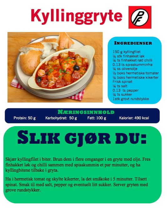 Ingredienser: – 150 g kyllingfilet – 1/4 stk finhakket løk – 1/4 ts finhakket rød chilli – 0.13 ts spisskumminfrø – 1/4 ss olivenolje – 1/2 boks hermetiske tomater – 1/4 boks hermetiske kikerter – frisk spinat – 1/4 ts salt – 0.13 ts pepper – 1/4 ts sukker 1 stk grovt rundstykke  …