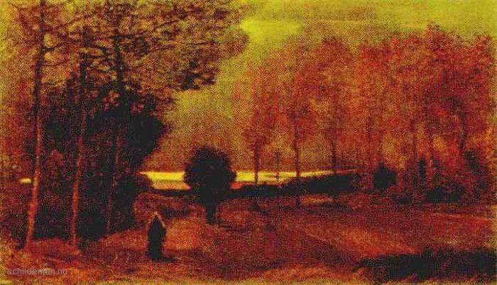 """Painting """"Herfst Landschap in de schemering"""" by Vincent van Gogh - www.schilderijen.nu"""