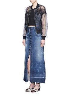 TORTOISEWater stain denim maxi skirt