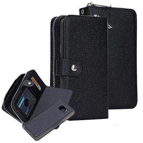 S7 Case Galaxy S7 Case Cellaria Zipper Cash Slot Series - [Card Slots][Button Closure] Flip PU Leather Wallet Case Cover With Detachable Magnetic Hard Case For Samsung Galaxy S7 Black