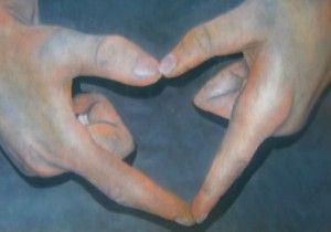 Hands III; pastel on paper