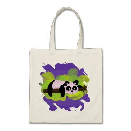 Cute  Panda Bear on green leaves and purple Tote Bag - watercolor gifts style unique ideas diy