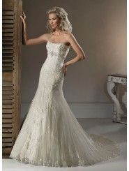 Lace Dipped Neckline A-line Wedding Dress