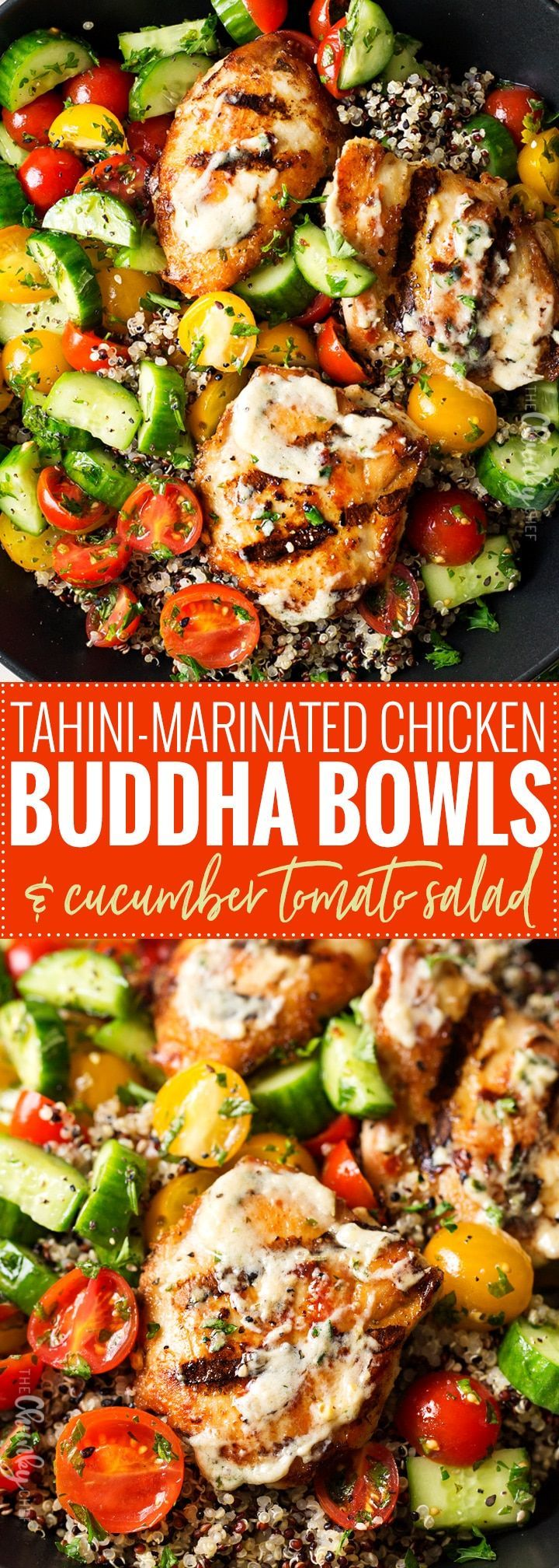 Tahini Marinated Chicken Buddha Bowl | Healthy, delicious, and easy to make… t…