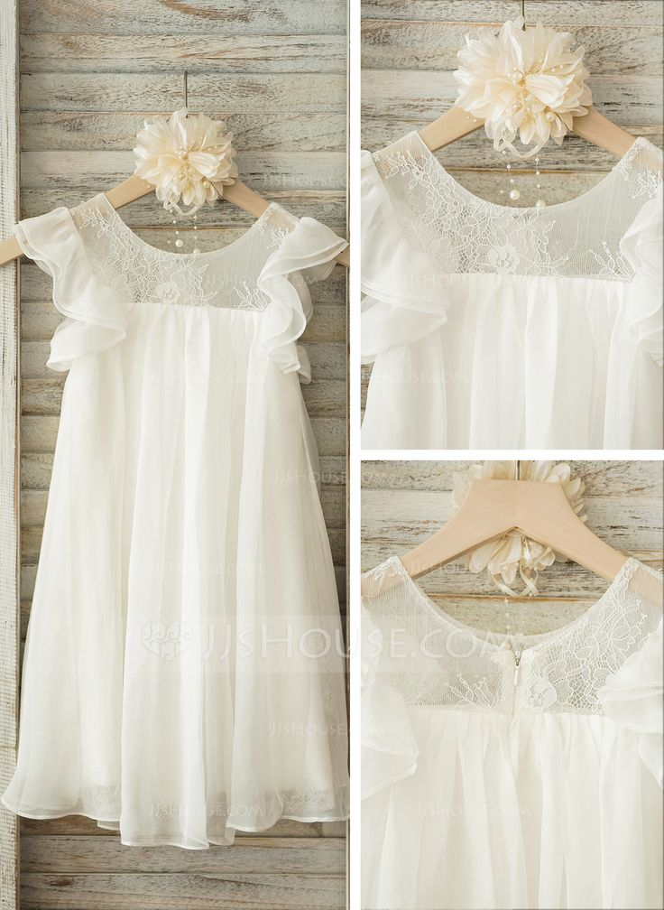 A-Line/Princess Scoop Neck Knee-length Lace Chiffon Short Sleeves Flower Girl Dress Flower Girl Dress