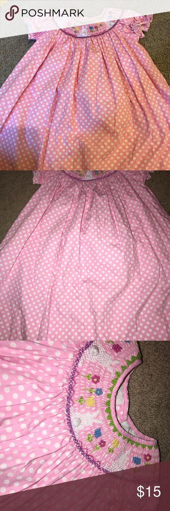 Smocked Easter dress 3t pink polka dot bunny Cute smoked Easter dress with bunny's. Fun print! Great shape! Sf/pf home Dresses Casual