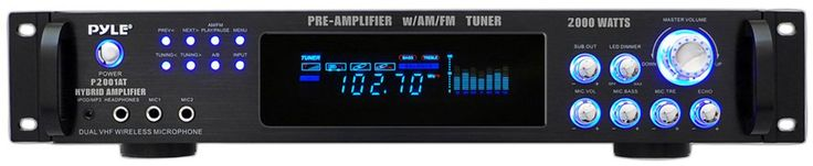 Pyle P2001AT 2000W Hybrid Pre Amplifier with AM/FM Tuner. 2000 Watts Peak Power - Digital AM/FM Tuner with Auto Seek - Banana Plug & Binding Post Outputs - Individual Gain Controls. RCA Dedicated Record Line Output - RCA for Subwoofer Output - RCA Dedicated Preamplifier Output. iPod / MP3 Input - Digital Fluorescent Display - Quartz Synthesized Tuner. 110-220V Switchable. One Year Warranty. Inputs: 2 Rca. Outputs: Banana Binding Post To Speakers. 1 Dedicate Rca Record Line & 1 Rca Preamp...