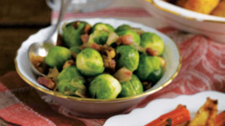Brussels sprouts with pancetta & hazelnut image