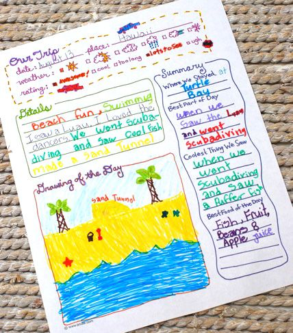 FREE Printable Trip Journal Page.  Can interview & fill in info for kids if they are too young to write.