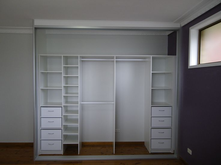 Brilliant White Small Closet Furnishing Ideas With Opened Built In Wardrobe Designs