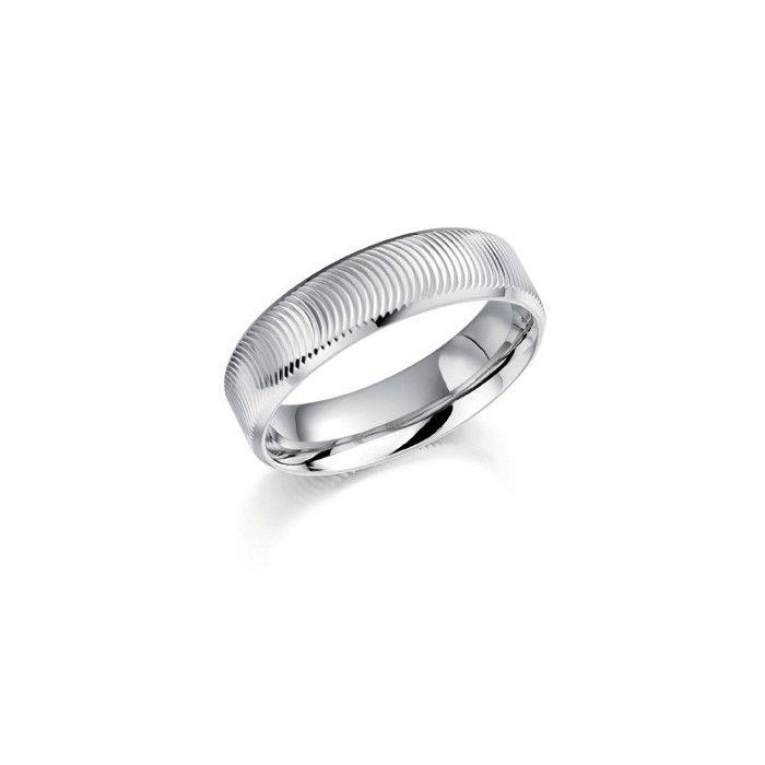 Stunning A patterned palladium wedding ring