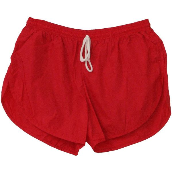 80s Vintage Missing Label Shorts: 80s -Missing Label- Mens bright red nylon, cotton blend brief lined totally 80s running shorts with deep side vent hems and elastic/tie off waistline. found on Polyvore