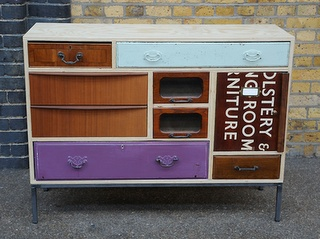 I just love Rupert Blanchard's salvaged drawer creations!  #upcycle #recycle