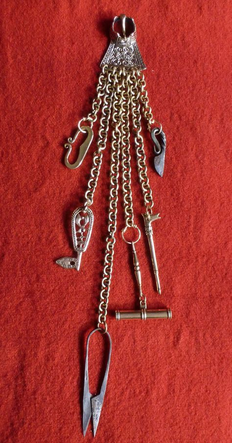 Viking Woman's Chatelaine with Scissors, Needle Case, Key, Earspoon, Iron Knife Amulet and Fire Steel Amulet