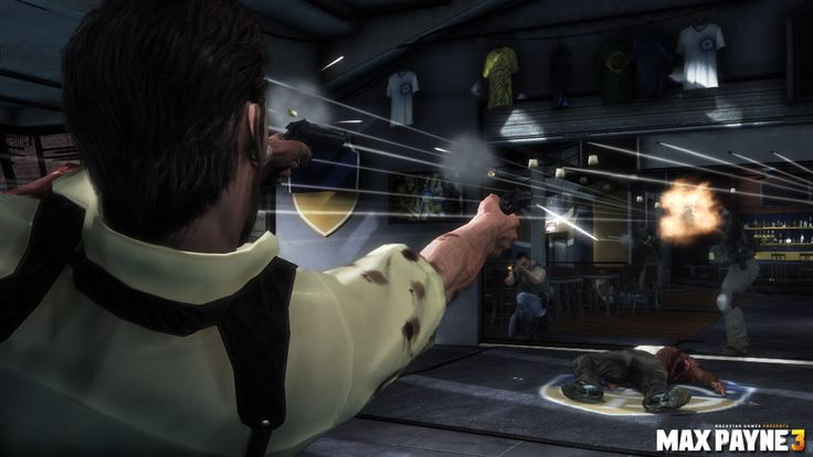 Special Effects and Action Scenes: This screenshot is from Max Payne 3 (2012), depicting the Bullet Time effect and the general action theme of the game. Considering that the first game, Max Payne, was released in 2001, there is the obvious influence of films like The Matrix (1999) and Die Hard (1988) in game's plot and dialogue.