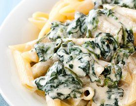 Baked Penne with Spinach and Ricotta (add mushrooms and use whole grain penne and fat free ricotta and mozzarella!)