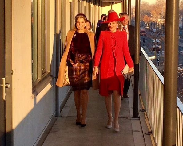 """On November 29, 2016, Queen Maxima of The Netherlands and Queen Mathilde of Belgium visited """"Rooms with Opportunities"""" in Amsterdam. Rooms with Opportunities, of welfare organization Combiwel, prepares young people who prematurely left their school to independent living by offering them a job or to earn a diploma. The Belgian royal couple is on their second day of a three-day state visit to the Netherlands"""