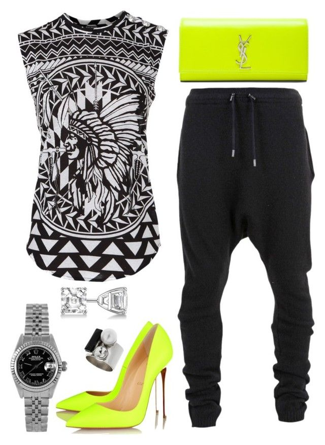 """Neon Lights"" by fashionkill21 ❤ liked on Polyvore featuring Balmain, Yves Saint Laurent, Christian Louboutin, Allurez, Rolex and Topshop"