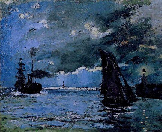 Claude Monet - Seascape, Night Effect 1866