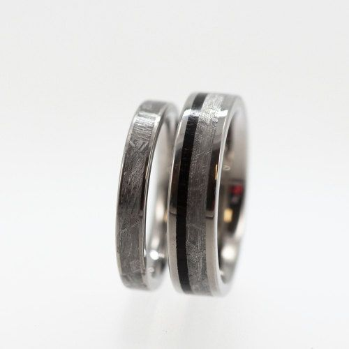 His and Hers Wedding Ring Set - Titanium Ring With Meteorite and Wood Inlays. $910.00, via Etsy.