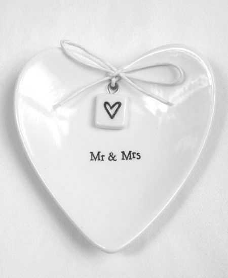 Mr & Mrs Ceramic White Heart Ring Dish www.daisyshoppe.com, also crate and barrel