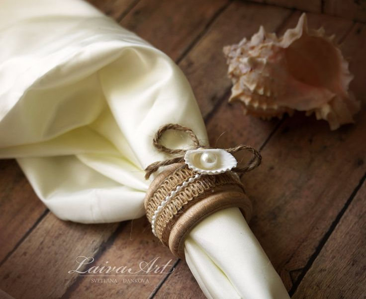 Beach Wedding Napkin Rings Rustic Wedding Napkin Holders Wooden Napkin Rings Wedding Table Décor Set of 4 - pinned by pin4etsy.com