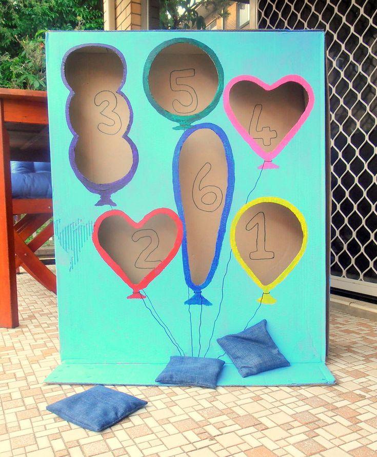 Balloon bean bag toss game