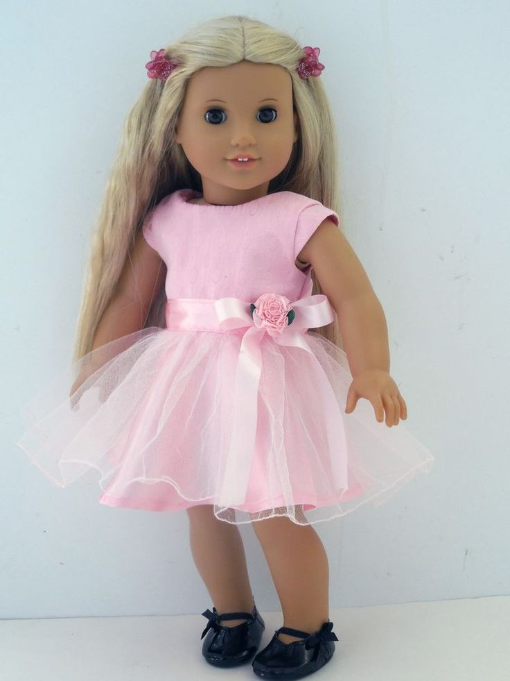 "Satin, Tulle, Pink Party Dress & Shoes, 18"" American Girl Doll Clothes 