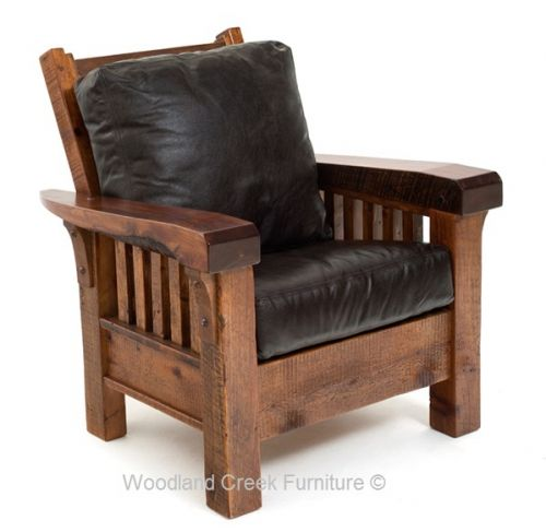 Rustic Barn Wood Mission Club Chair Available at Woodland Creek Furniture.