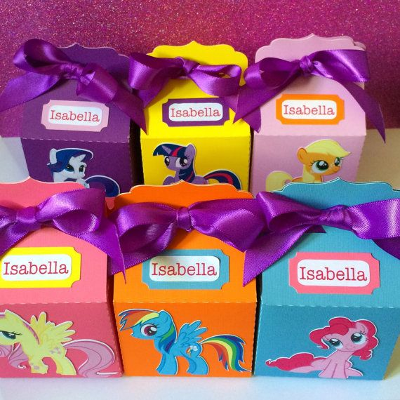 New Personalized My Little Pony Party Favor Treat Boxes. These sweet Boxes are just the perfect touch for your Little Pony or Rainbow celebration!