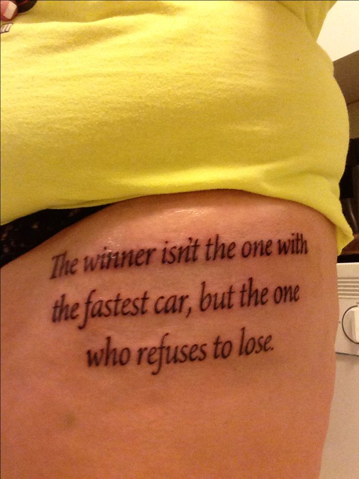 Got this tattoo for all the men in my life who never gave up at the track!