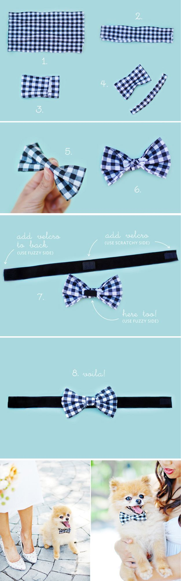 Cute and Easy No Sew Dog Craft Project | Doggie Bow Tie by DIY Ready at http://diyready.com/diy-dog-crafts-mans-best-friend-will-love/