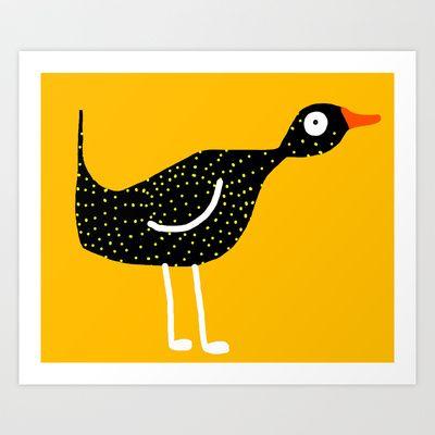Weird Bird3 yellow Art Print by Verene Krydsby - $19.00