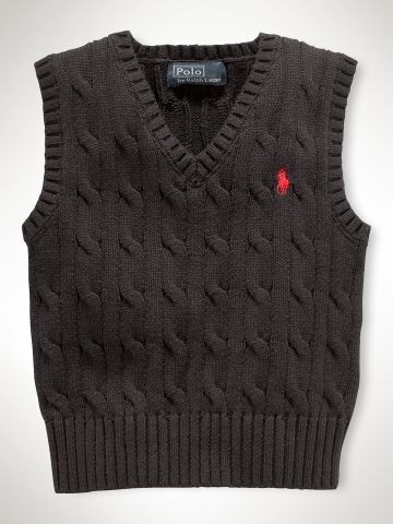 Classic Cable Vest - Infant Boys Sweaters - RalphLauren.com