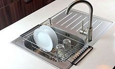 Over-The-Sink Kitchen Dish Drainer Rack Durable Chrome-plated Steel (Black) New