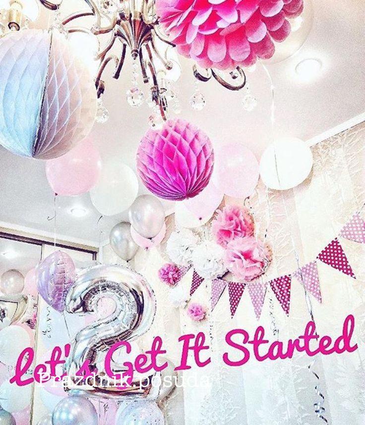 шары соты , помпоны , нежно розовый декор