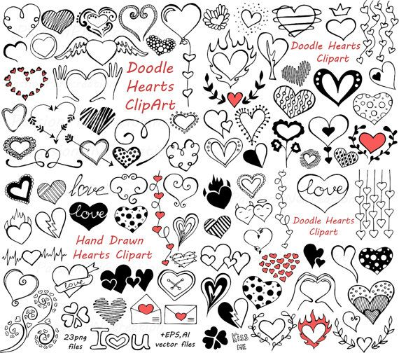 BIG SET of Doodle Hearts Clipart! Heart clip art, Digital hearts clip art, 90…