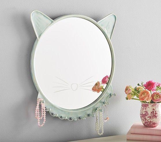 Turqouise Ceramic Kitty Mirror | Pottery Barn Kids