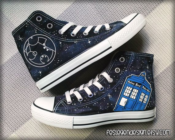 Your Name in Gallifreyan 'Custom Converse' /  Doctor Who / Tardis 'Galaxy'